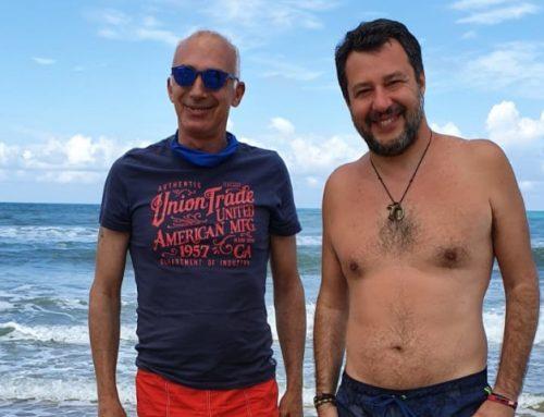 Matteo Salvini e Tiberio Patrizi dell' Associazione No game